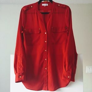 Calvin Klein Red Blouse with foldup sleeves